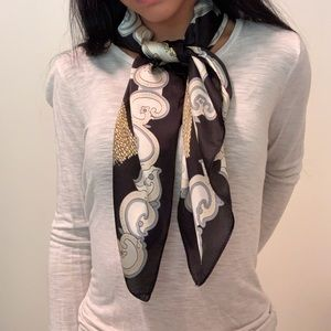 Silky Gold and Black Chain Print Scarf OS